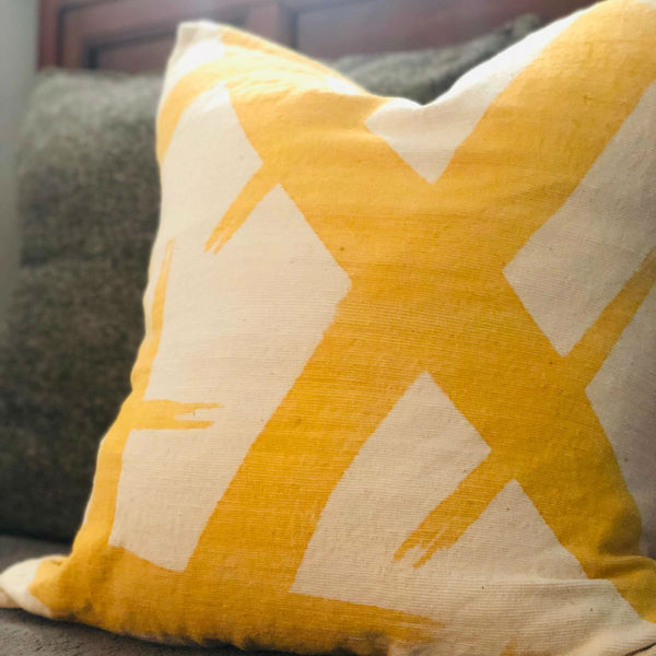 KELLY MUDCLOTH pillow cover medium YELLOW