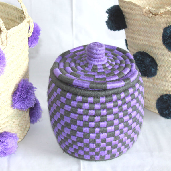 purple CHECKED woven basket-atelierBOEMIA