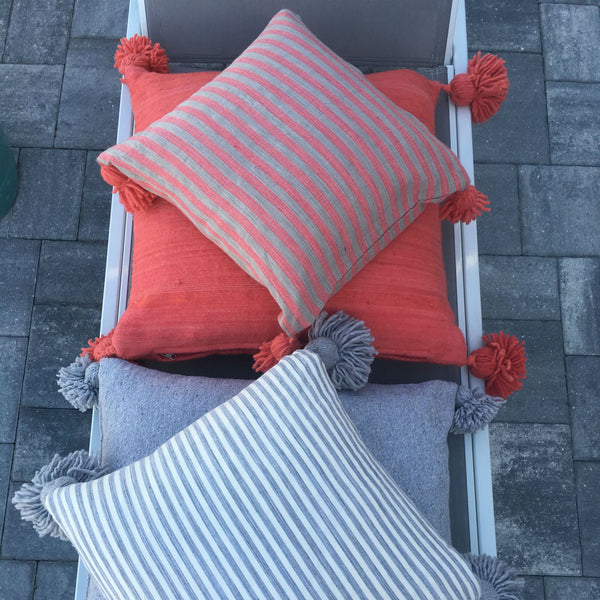 BETSY pillow cover - coral/beige