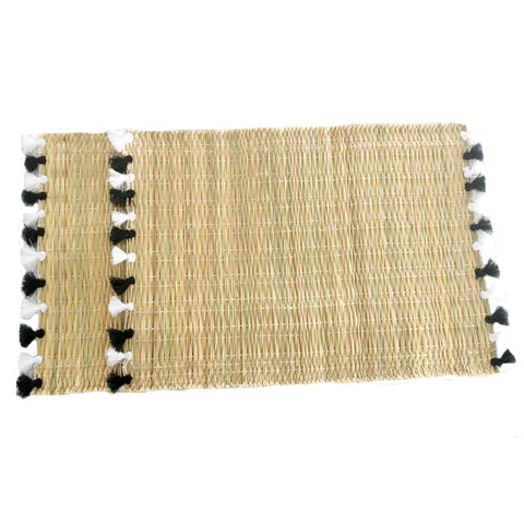 LOLA placemat with tassel - set of 2 BLACK & WHITE