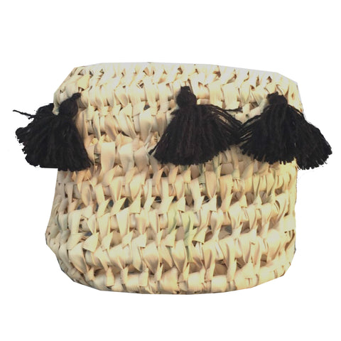 CATCH ALL tassel basket - BLACK