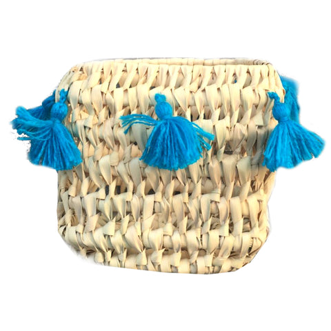 CATCH ALL tassel basket - TURQUOISE
