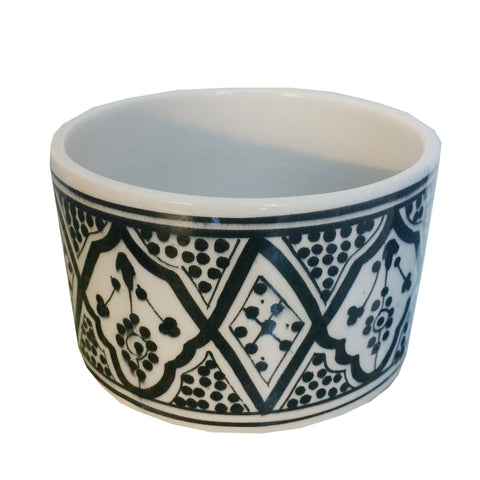 ROUND porcelain planter - black