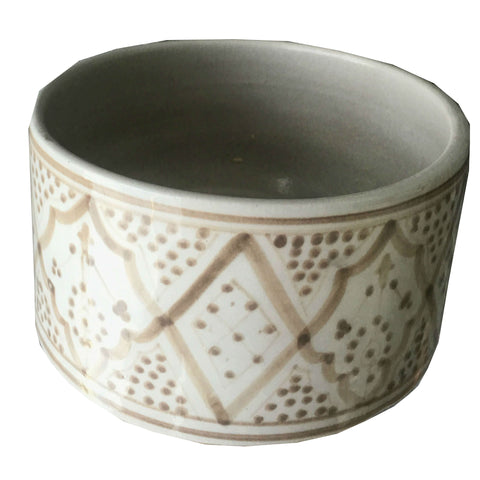 ROUND porcelain planter - grey