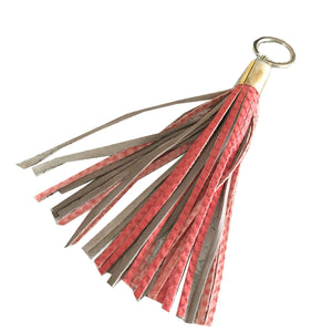 LEATHER TASSEL keychain - CORAL/SAND