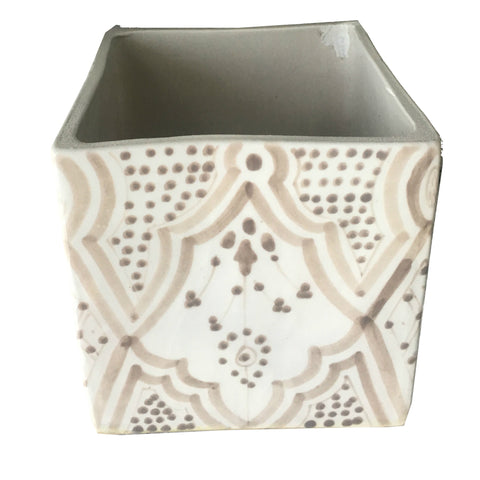 CUBIC porcelain planter - grey