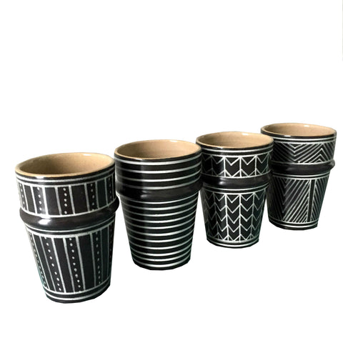 GRAPHIC Beldi porcelain cups - set of 4