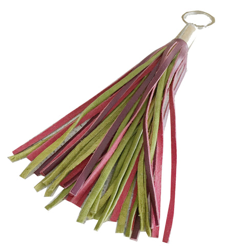 LEATHER TASSEL keychain - AUBERGINE/LIME