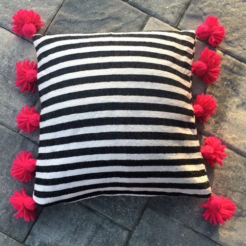 LINA pompom pillow cover - black/white/fuchsia