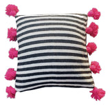 LINA pillow cover-black/white/fuchsia-atelierBOEMIA