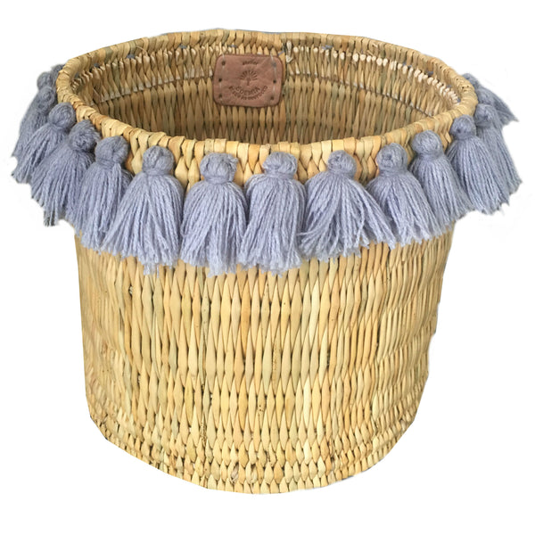 SEVERINE basket with tassels- large GRAY