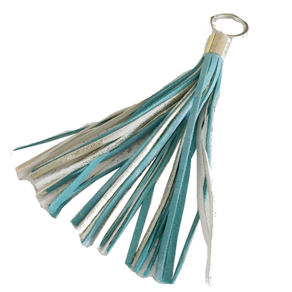 LEATHER TASSEL keychain - TURQUOISE/SILVER