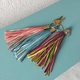 bicolor LEATHER TASSEL keychain