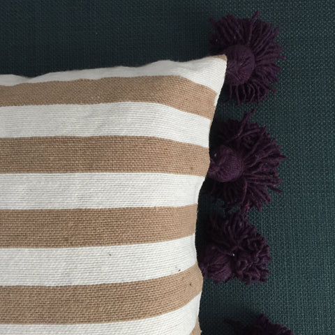 LINA pillow cover - beige/white/eggplant