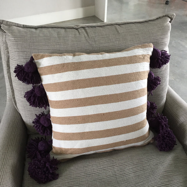 LINA pillow cover BEIGE/WHITE/EGGPLANT