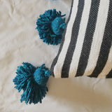 LINA pillow cover BLACK/WHITE/TURQUOISE