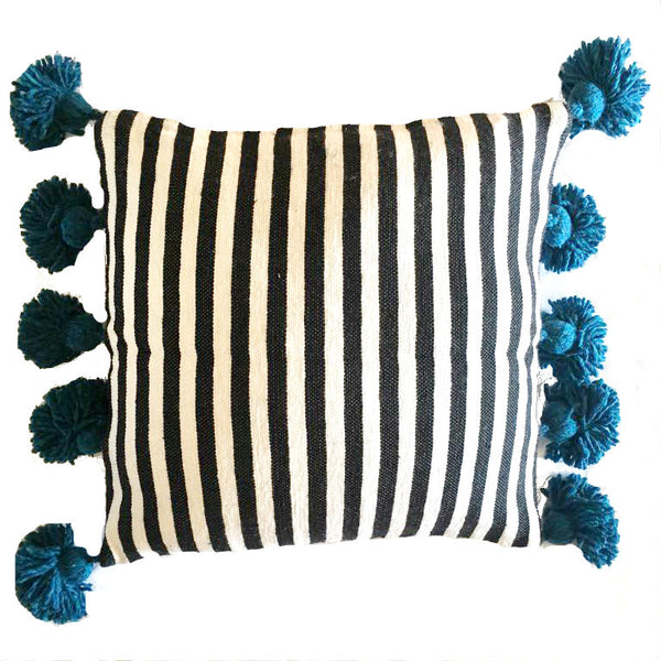 LINA pillow cover-black/white/turquoise-atelierBOEMIA