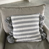 LINA pompom pillow cover - gray/white/gray