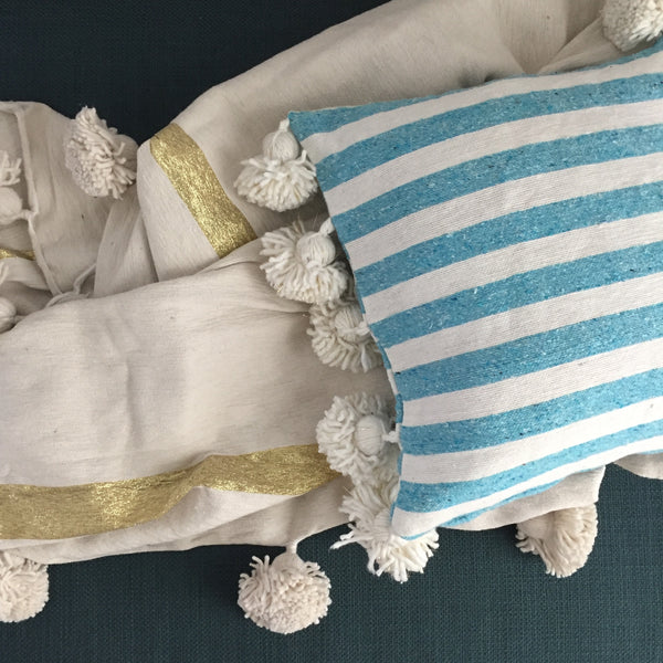 LINA pillow cover BLUE/WHITE/GOLD