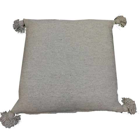 MARIO large pillow cover with pompoms - gray