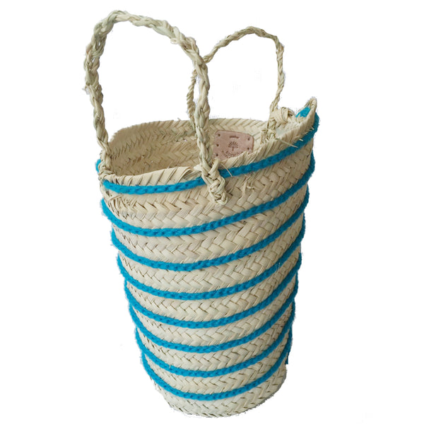 OTHELLO pompom basket STRIPED TURQUOISE