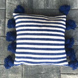 LINA pompom pillow cover - cobalt/white/cobalt