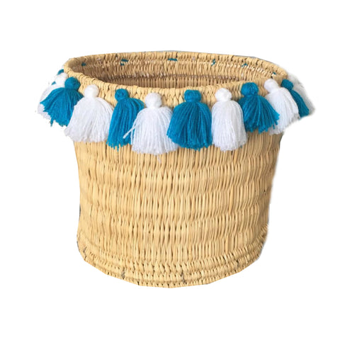 SEVERINE tassel basket large - turquoise and white