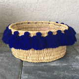 SEVERINE tassel basket small - cobalt blue