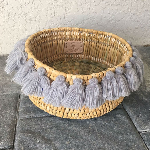 SEVERINE tassel basket small - grey