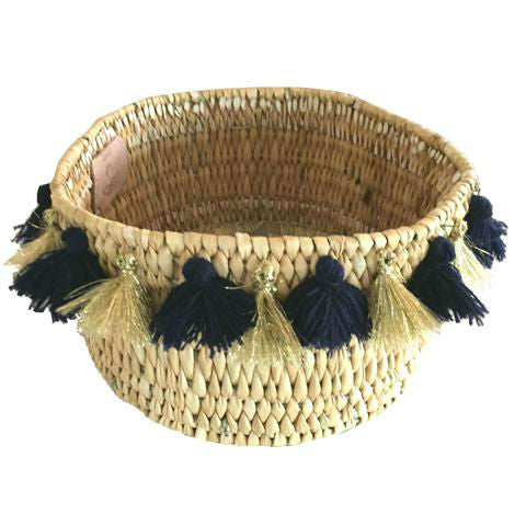 SEVERINE basket with tassels- small NAVY/GOLD