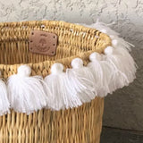 SEVERINE tassel basket large - white