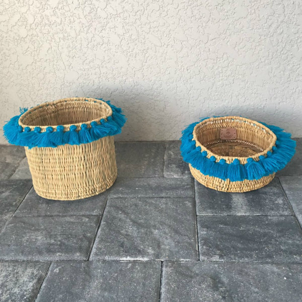 SEVERINE basket with tassels- small TURQUOISE