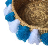 SEVERINE tassel basket small - white and turquoise