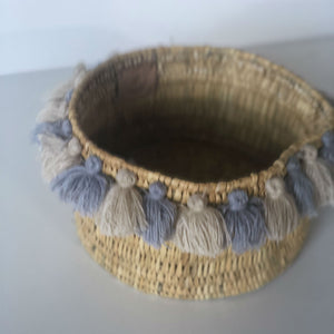 SEVERINE basket with tassels- small GRAY/BEIGE