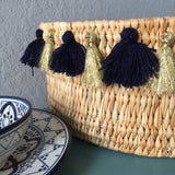 SEVERINE tassel basket small - navy and gold