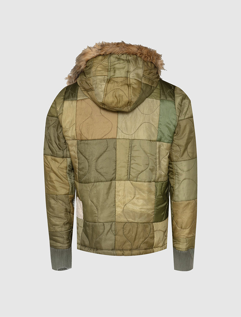 PATCHWORK RETRO PUFFY JACKET