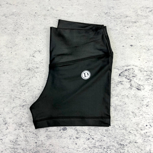 Black Wet Look Shorts