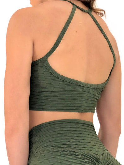 Exposed Sports Bra (Olive Glam Texture)