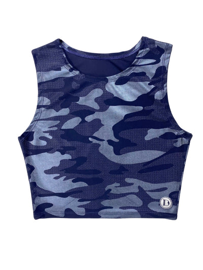 Back To Basics Crop Top (Lux Camo Midnight Blue)