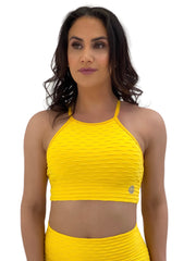 Exposed Sports Bra (Sunflower Glam Texture)