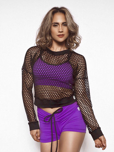 Cooler Days Black Fishnet Top