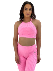 Exposed Sports Bra (Pink Glam Texture)