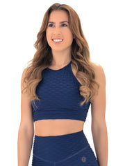 Exposed Sports Bra (Navy Glam Texture)