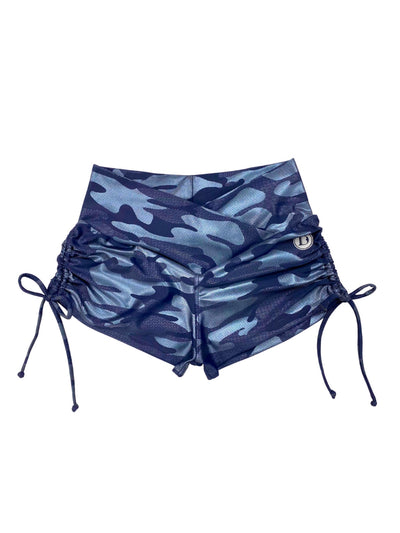 Tie Them Up Side Strings Shorties (Lux Camo Midnight Blue)