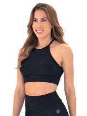 Exposed Sports Bra (Black Glam Texture)