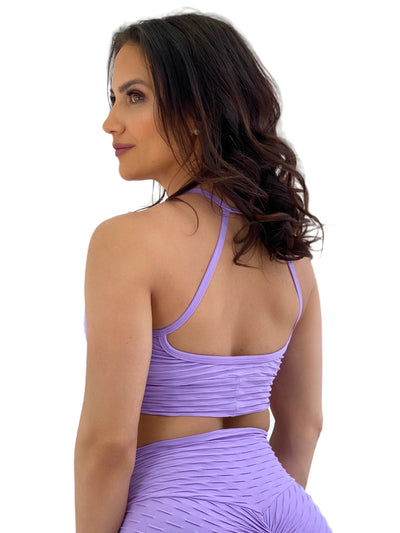 Exposed Sports Bra (Lavender Glam Texture)