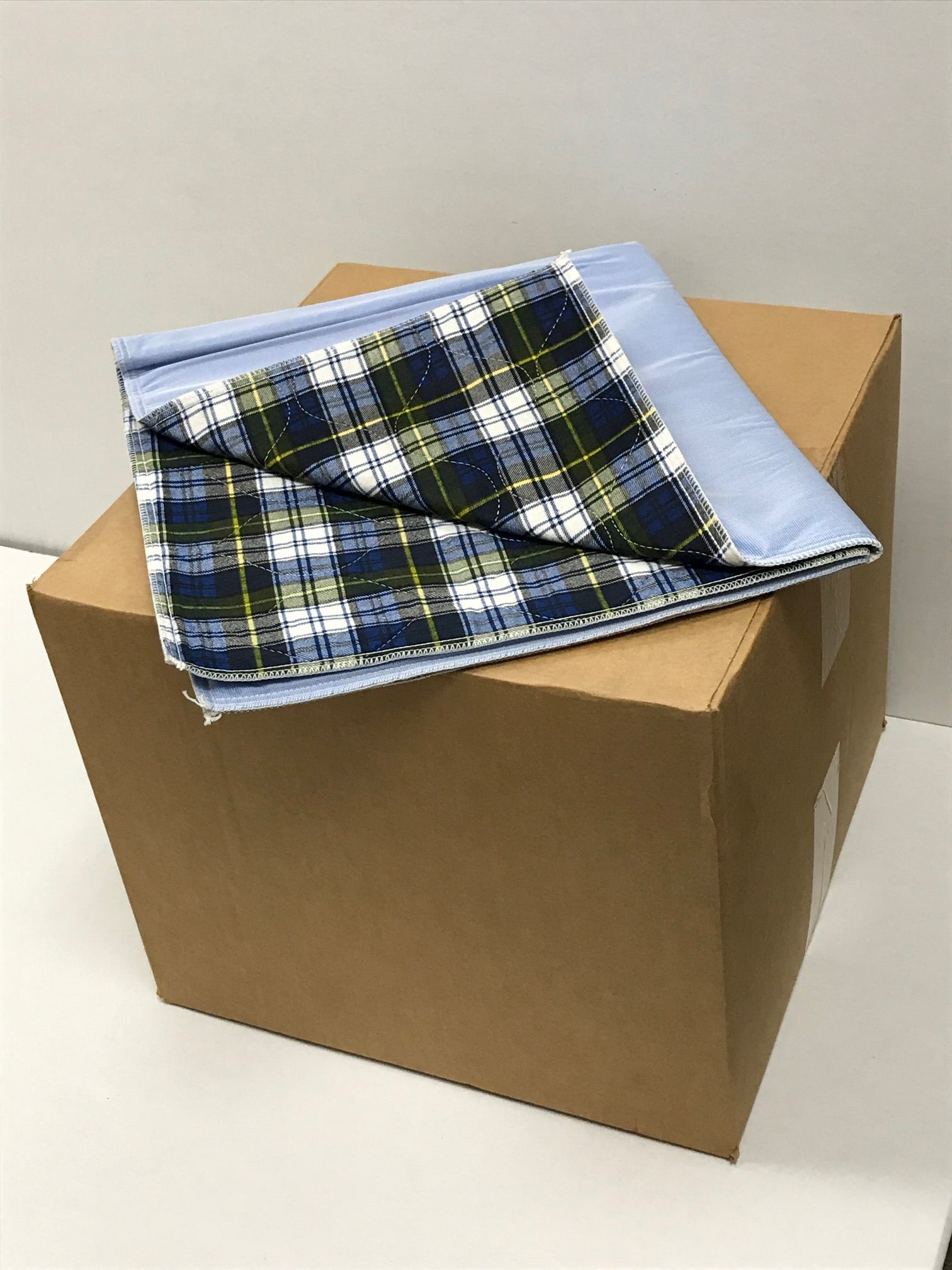 IBEX Flannel Blue Plaid Underpad, High Soaker