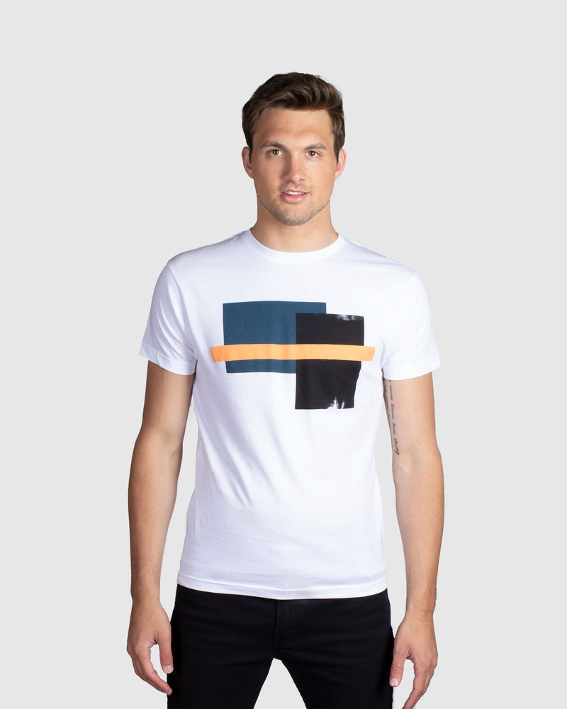 Abstract Block T-Shirt, White