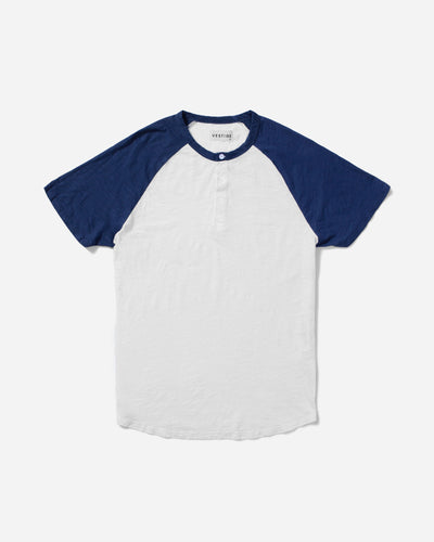 Color Block Raglan Henley, Denim