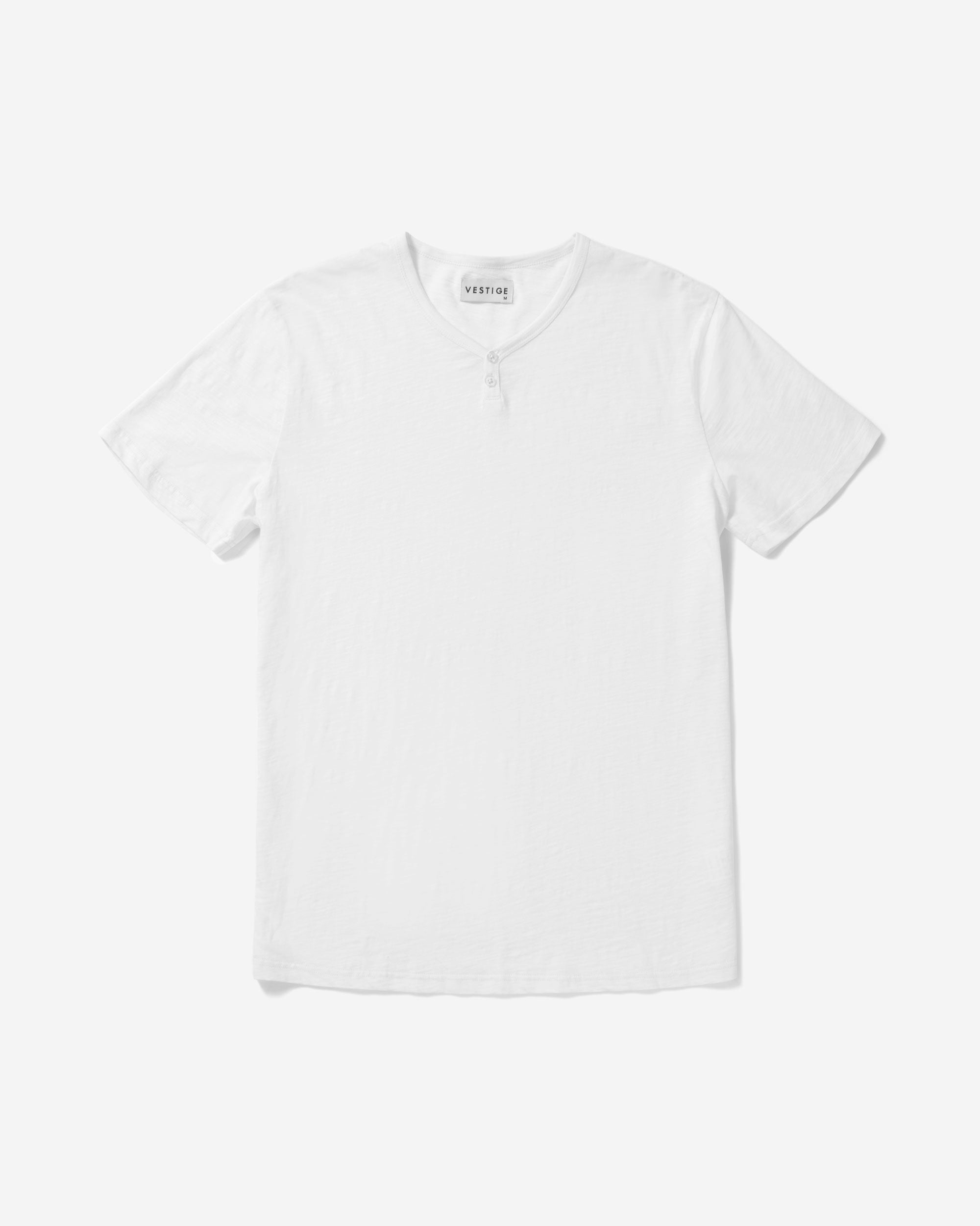 Slub Notch Henley, White